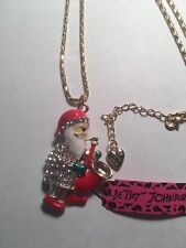 Santa Claus Play Trumpets RED Enamel Crystal Betsey Johnson Necklace-BJ15000