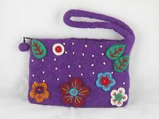 Multicolor Flower Beaded  Felt Handmade Purse with handle Nepal - FREE SHIPPING!