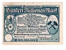 Notgeld 100 Millionen Mark 1923  Verein Bergwerke Niederrhein MOERS (G2/43)