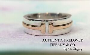 Excellent Authentic Tiffany & Co. T Two Rose Gold Silver Wide Ring RP$550