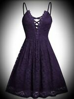 New Purple Gothic Strappy Lace Short Cute Fit n Flare Party Dress size 5XL 26 28