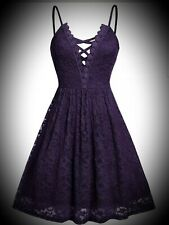 New Purple Gothic Strappy Lace Short Cute Fit n Flare Party Dress size 3XL 22 24