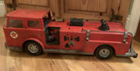 Vintage 1960's  Buddy L Texaco AMF Havoline Oil Fire Chief Truck Pressed Steel