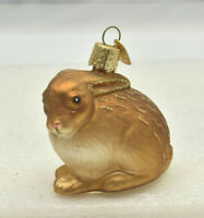 Old World Christmas Brown Cottontail Bunny Rabbit  Blown Glass Ornament