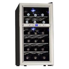 Silver 14 Inch Wide 18 Bottle Wine Cooler with Dual Thermoelectric Cooler