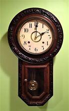 Antique Schoolhouse Carved Regulator Wall Clock