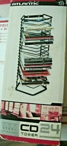 Black Wire CD Rack Holds 24 CD's Tabletop Stand New Sturdy