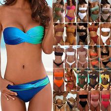 Womens Bandeau Bikini Set Padded Top Thong Bandage Swimwear Bathing Swimsuit Hot