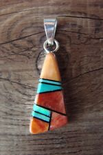 Navajo Sterling Silver Spiny Oyster, Turquoise,  Opal Inlay Pendant by Grace ...