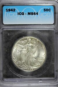 1942 - ICG MS64 Walking Liberty Half Dollar!!  #B21111