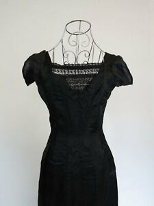 Titanic Dress - Edwardian, 1910s Evening Gown - Black Silk Gown With Train