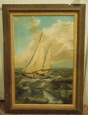 """Vintage Helen E King """"Sea Witch"""" Oil Painting Framed - Nautical Sea Boat"""