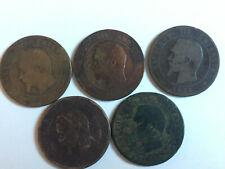 lot de 5 monnaies 10 centimes Napoléon III 1853 1855 1856 1857 MA