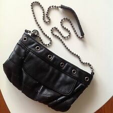 Black Faux Leather Cross Body Purse Chain Converse a3c7f03a4a4ee