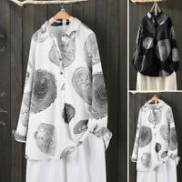 ZANZEA Women Long Sleeve Cotton Printed Tops Casual Loose Shirts Blouse Pullover