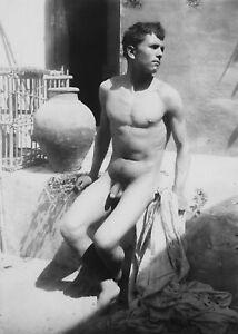 """1895 Male by Vase, by Wilhelm von Gloeden, Vintage Old Photo 4"""" x 6"""" Reprint"""