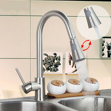 Nickel Brushed Kitchen Pull Out Swivel Vanity Sink Mixer Tap Faucet Ush