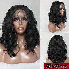 Brazilian Bob Deep Kinky Synthetic Lace Front Wigs Black Color Heat Resistant