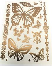 Impermeabile Temporanei Metallico Farfalla Tatuaggio Oro Flash Ispirato