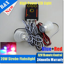 20W RED and Blue remote control 3modes Car strobe led flash light lamp bulb 1in2