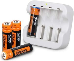 Hixon 4 Pack AA 1.5V Rechargeable Batteries 3500mWh 1200 Cycles 4 Slot Charger