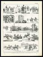 Antique Print-EQUESTRIAN SPORT-HORSE RACING-DRESSAGE-SHOW JUMPING-Larousse-1897