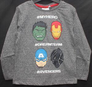 "MARVEL AVENGERS Boy's Long-Sleeved Grey T-Shirt  ""#DREAMTEAM"" Sizes 3-10 years"