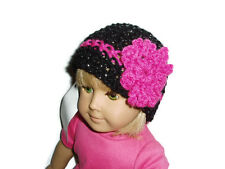 """Sparkly Black n Hot Pink Hat Crochet Beanie 18"""" Doll Clothes Fits American Girl"""