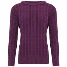 Women Cable Knit Long Sleeves Crew Neck STUNNING Jumper Warm Ladies Sweater Top M/l Purple