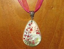 Russian hand painted Shell PENDANT Japanese SAKURA tree PINK FLOWERS UNIQUE GIFT