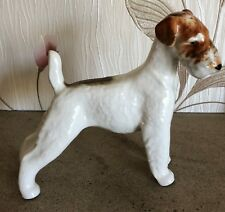 LOMONSOV DOG FOX TERRIER LARGE WHITE AND BROWN GLOSS  USSR RUSSIA PERFECT