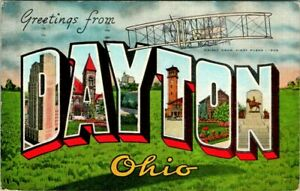 C45-9372, GREETINGS FROM DAYTON, OHIO., LARGE LETTER POSTCARD.