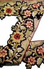 Vintage Sari Border Antique Hand Embroidered 1 YD Indian Trim Sewing Golden Lace