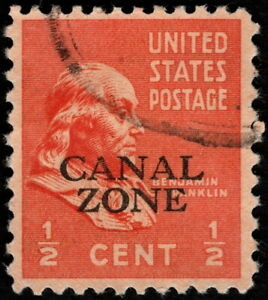 Canal Zone - 1939 - 1/2 Cent Red Orange Benjamin Franklin Issue # 118 Very Fine