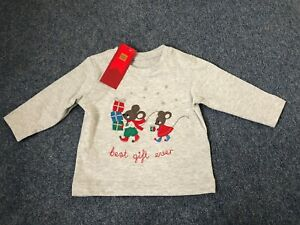 M&S Christmas Mice Mouse Present Cotton Long Sleeve T-Shirt Age 3-6 Months NEW