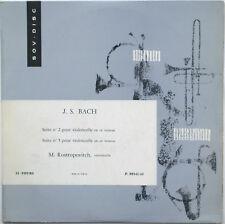 BACH Cello Suites 1/2 ROSTROPOVICH Sovdisc P.08541/42 LP RARE USSR