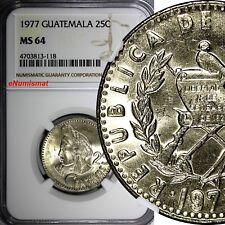 Guatemala 1977 25 Centavos NGC MS64 TOP GRADED BU Small Head, Wide Rim KM# 278.1