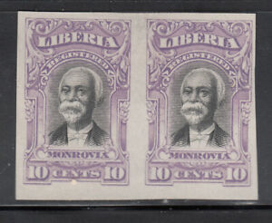 Liberia # F13 Color Proof Pair in LAVENDER on Paper (no gum as usual)