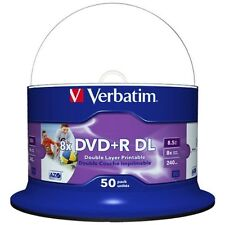 50 DVD+R Doble Capa Verbatim Printables 8x 8.5 GB MKM003 DL Tarrina 10 20 25 100
