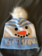 GIRLS CHRISTMAS CUFF KNIT BEANIE HAT LET IT SNOW BLUE & WHITE