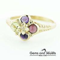 3288 Garnet Amethyst Peridot Exclusive Solid 14K Yellow Gold Women's Ring
