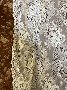 "Victorianna Design White Cotton Lace Curtain c1900s period 70""/120"" With Mend"