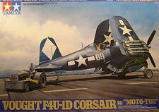 WWII F4U1D CORSAIR WITH MOTO TUG TAMIYA 1:48 SCALE PLASTIC MODEL AIRPLANE KIT