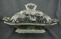 Historical Staffordshire Black R. HALL & SONS Parisian Chateau COVERED DISH