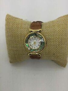 Fossil Yellow Goldtone Abalone Bezel Wrist Watch