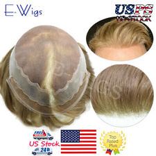 Fine Mono Hair System French Lace Front Mens Toupee Poly PU Hairpiece for Men US