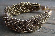 Braided Seed Bead Bracelet Chunky Statement Fashion Jewelry Gold Black Gray Sz 8
