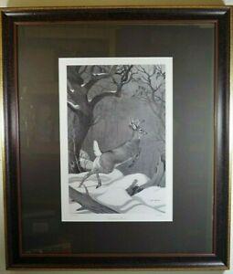NED SMITH LEAPING BUCK PRINT FRAMED L.E. 317/600 NSCNA