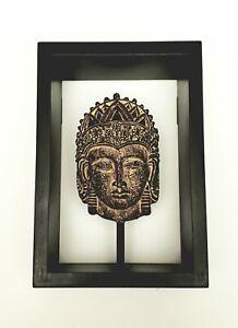 Ancient Egypt East Asia Bronze Man Sculpture Head & Wooden Framed 3-D Design