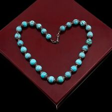 """Antique Vintage Deco Sterling Silver Chinese Turquoise Bead 17.75"""" L Necklace"""